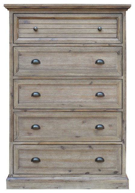 Solstice Gray 5 Drawer Bedroom Chest.