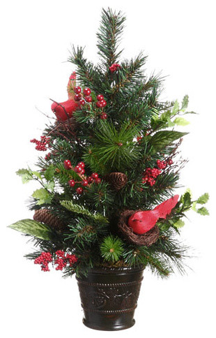 """Potted Pine Cone Cardinal and Berry Pine Artificial Christmas Tree, Unlit, 26"""" - Traditional - Christmas Trees - by Northlight Seasonal"""
