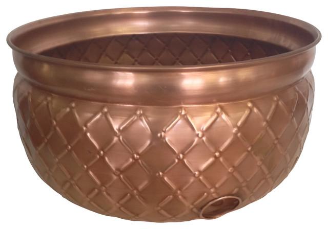 Copper Plated Hose Holder, Large Contemporary Garden Hose Reels