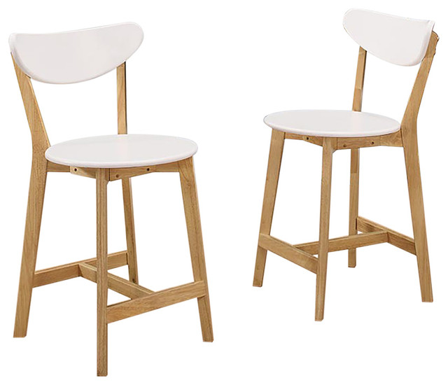 Retro Style Bar Stools Set Of 2 White And Natural