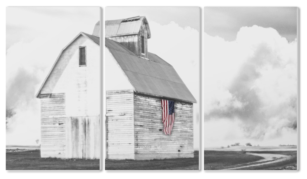 White Barn With American Flag Black Gray Triptych Wall Art Set 11 X17 Farmhouse Wall Accents By Stupell Industries