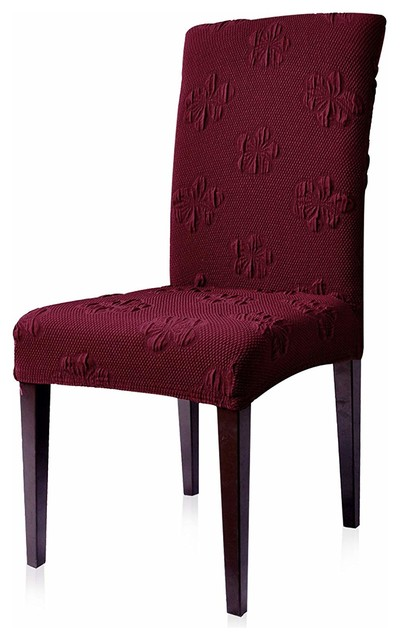 Subrtex Jacquard Flower Stretch Dining Room Chair Slipcover