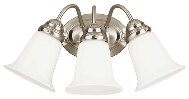 George Kovacs Brushed Nickel Five Light Bath Fixture In: Westinghouse 3-Light Interior Wall Fixture, Brushed Nickel
