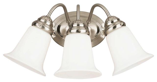 Bathroom Vanity 3 Light Fixture Brushed Nickel Bell Wall: Westinghouse 3-Light Interior Wall Fixture, Brushed Nickel