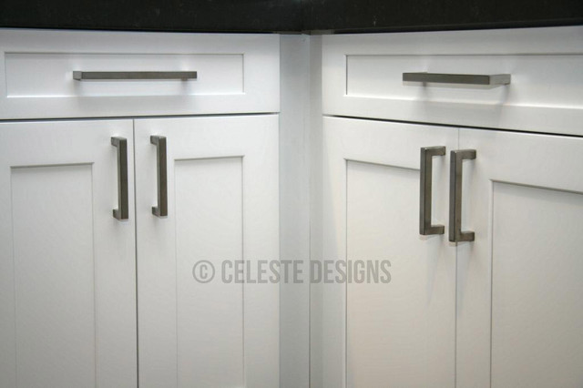 Square bar pulls by celeste designs on white kitchen for Square kitchen cabinet knobs