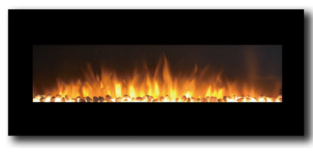 "Rigel 50"" Black Ventless Heater Electric Wall Mounted Fireplace, Pebble."