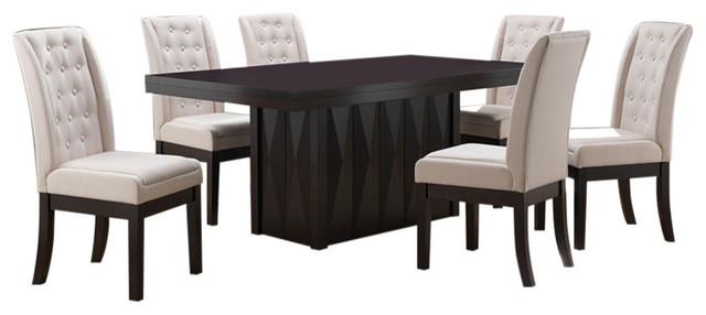 Livonia 7-Piece Dining Set, Cappuccino Wood & Bone Fabric, 71 Rectangular by Pilaster Designs