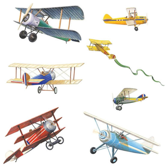 Vintage Planes Wall Stickers 22pc Airplane Decals  sc 1 st  Houzz & Vintage Planes Wall Stickers 22pc Airplane Decals - Contemporary ...