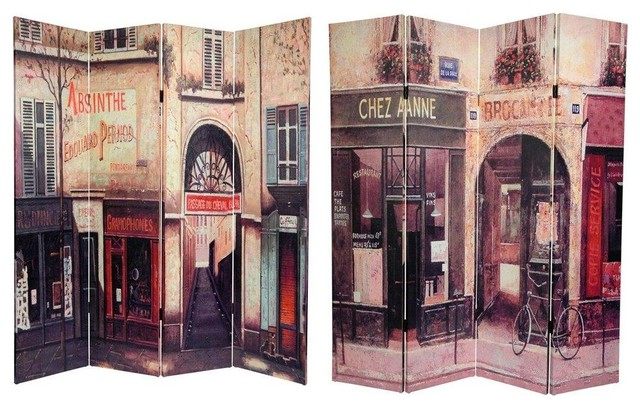 Tall Double Sided French Cafe Canvas Room Divider eclectic-screens-and - Shop Houzz 6 Ft. Tall Double Sided French Cafe Canvas Room