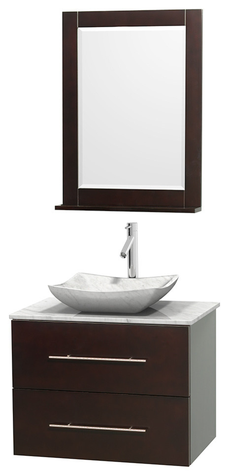 centra 30 espresso single vanity white carrera marble top carrera