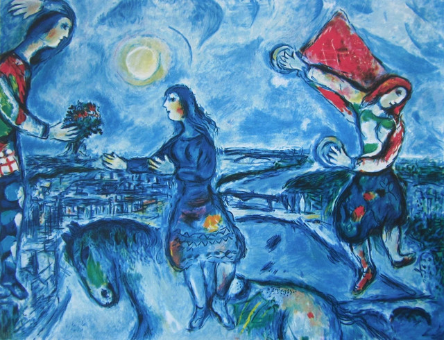 Over Paris Limited Edition Offset Lithograph Marc Chagall Contemporary Fine Art Prints By Commerce