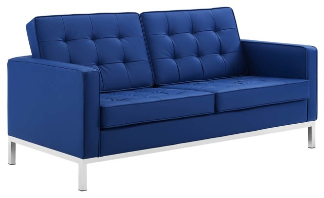 Strange Loft Tufted Upholstered Faux Leather Loveseat Silver Navy Squirreltailoven Fun Painted Chair Ideas Images Squirreltailovenorg