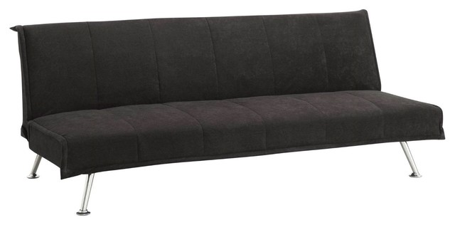 Black Microfiber Upholstered Futon Style Sofa Bed Lounger Couch
