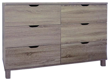 Commodious Brown Finish Dresser With 6 Drawers..