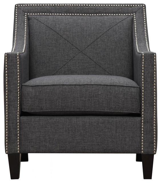TOV Furniture Asheville Dark Grey Linen Chair TOVA51