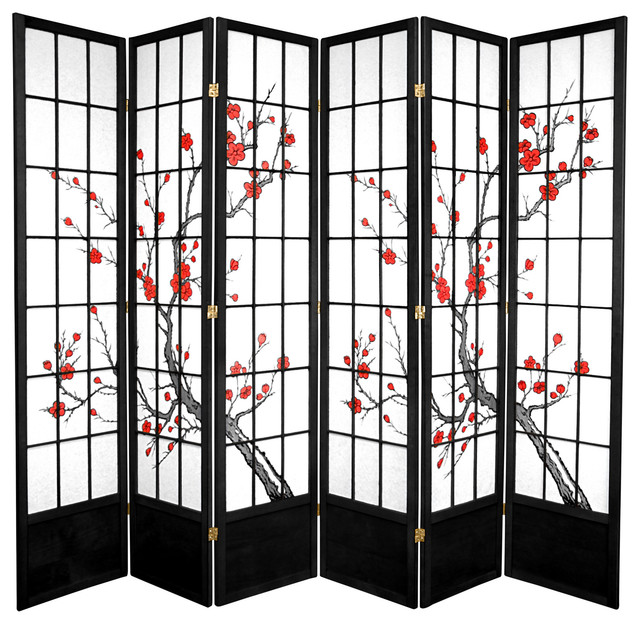 7' Tall Cherry Blossom Shoji Screen, Black, 6 Panels