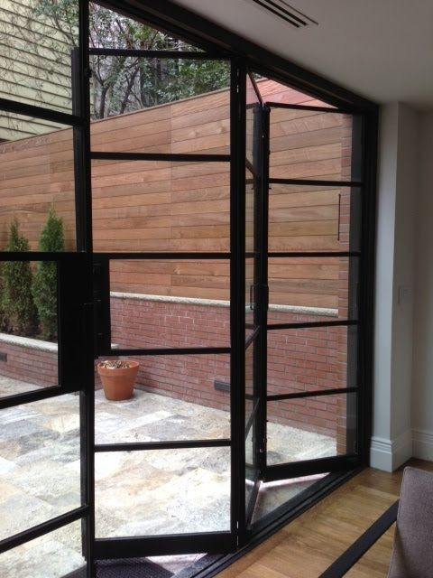 Crittal style aluminium sliding or folding doors for Sliding doors that look like french doors