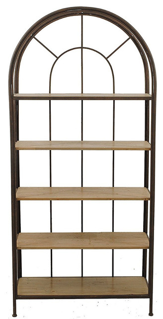 Notions Framed Arch Bookshelf With 5 Wood Shelves