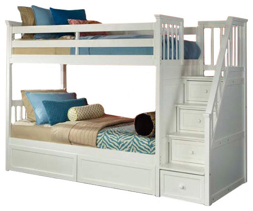 Simon Twin Over Twin Stairway Bunk Bed, White, Bed Only Transitional Bunk
