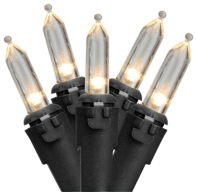 Set Of 50 Warm White Led Mini Christmas Lights 4 Spacing - Black Wire.