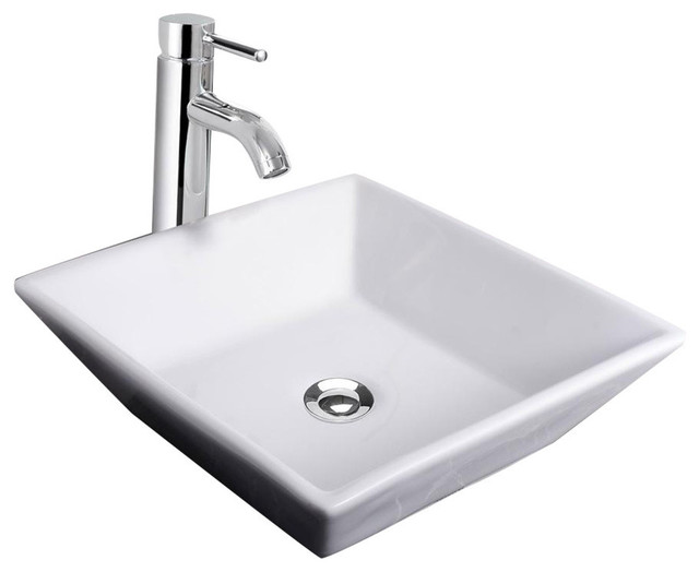 Square Porcelain Ceramic Vessel Sink With Drain And Faucet.