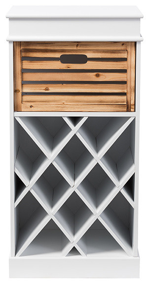 Dresdon 1-Drawer Cabinet With Built-In Wine Rack, White ...
