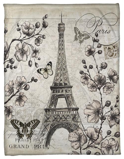 Paris in Bloom Fleece Blanket
