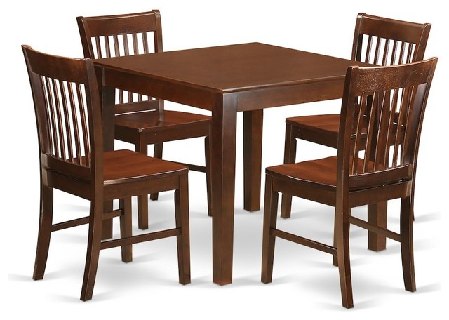 5-Piece Kitchen Table Set, a Table, 4 Dining Chairs Mahogany Without Cushion