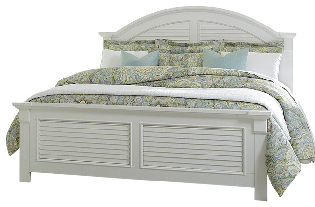 white bed coastal look beach style panel beds