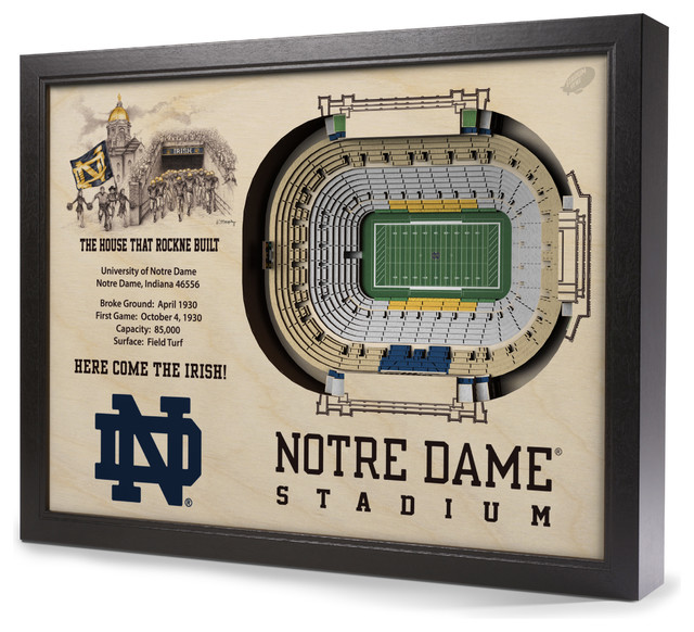 Notre dame fighting irish notre dame stadium 3 d wall art for Notre dame home decor