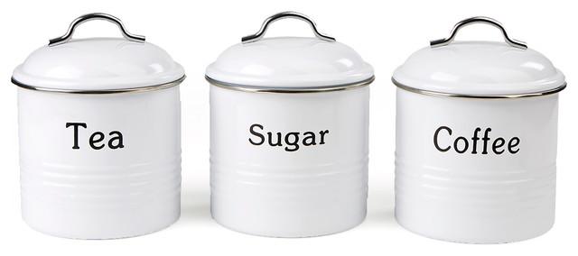 2931e4ae611c 3 Piece Coffee, Sugar,Tea Metal Canister Set, White - Contemporary ...