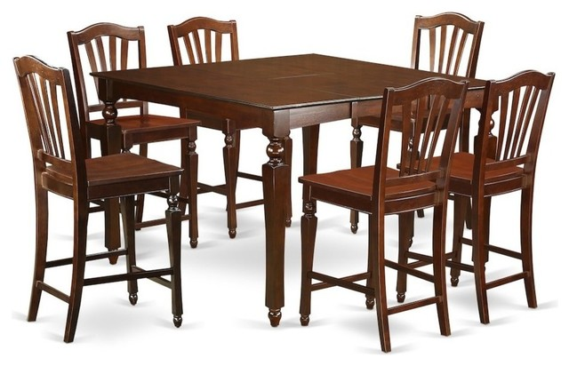 Swell 7 Piece Counter Height Dining Set Square Pub Table And 6 Counter Height Chairs Theyellowbook Wood Chair Design Ideas Theyellowbookinfo