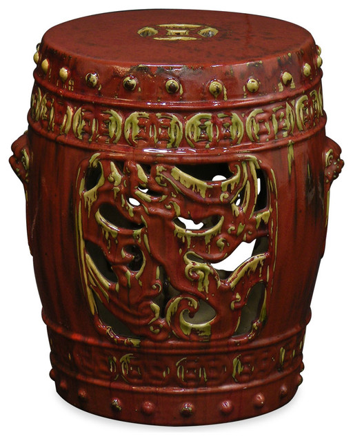 Porcelain garden stool rust asian accent and garden for Asian furniture westmont il