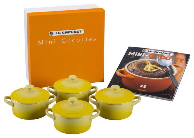 Le Creuset Set Of 4 Soleil Stoneware Mini Cocottes And Cookbook.