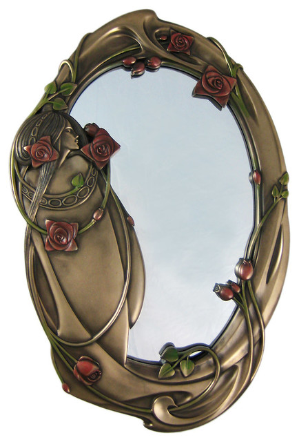 Metal Rose Wall Art Zeckos  Art Nouveau Rose Girl Bronzed Finish Wall Mirror  View