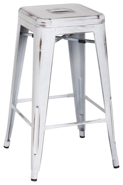 Metropolis Metal Backless Counter Stool Distressed White Set Of 8