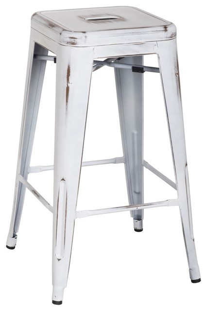 Metropolis Metal Backless Counter Stool Distressed White Set Of 8 Bar