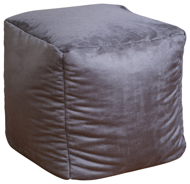Jamie Microfiber Square Kids Bean Bag, Gray modern-bean-bag-chairs - Jamie Microfiber Square Kids Bean Bag - Modern - Bean Bag Chairs