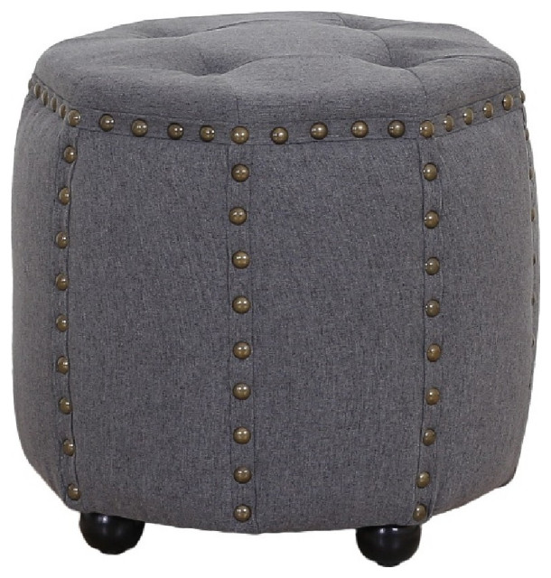 Tufted Fabric And Wooden Ottoman With Nailhead Rim And
