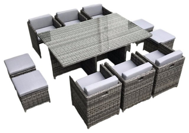 Outdoor Patio Wicker Furniture All Weather, Dining Table And Chair, 11-Piece Set.