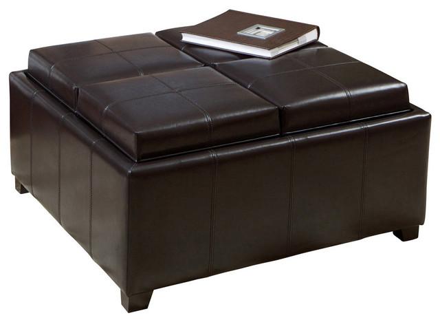 Groovy Gdf Studio Harley Leather Espresso Tray Top Storage Ottoman Ibusinesslaw Wood Chair Design Ideas Ibusinesslaworg