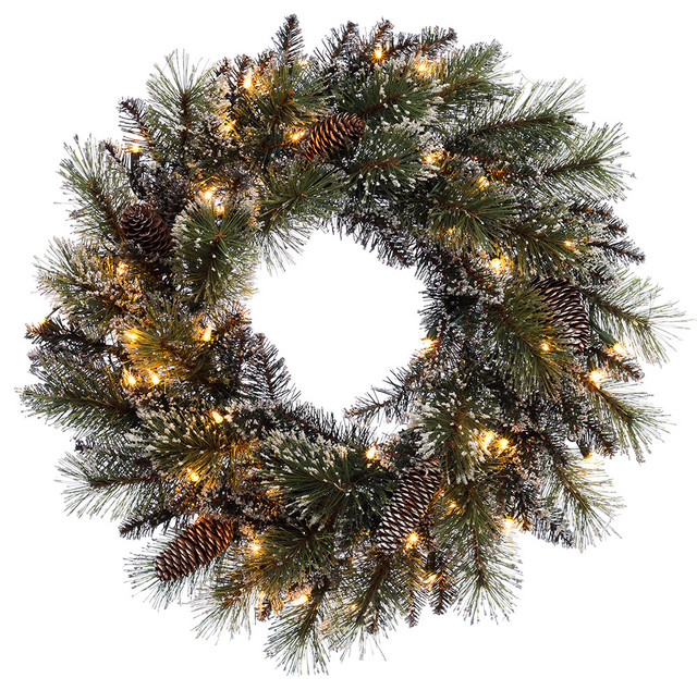 Puleo International 24 Prelit Decorated Wreath With 50 Clear Lights.