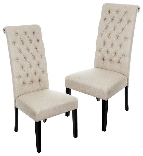 charley tall dark beige tufted dining chairs, set of 2