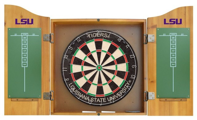 LSU Tigers Dart Board and Cabinet - Modern - Darts And Dartboards - by Team Sports