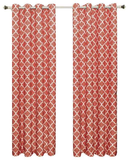 "Meridian Room Darkening Thermal Grommet Panels, Set of 2, Coral, 104""x84"""