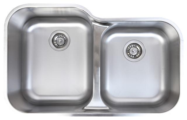 Waterloo 18 Gauge Stainless Steel Undermount 60/40 Low Divide Dual Bowl Sink  Modern