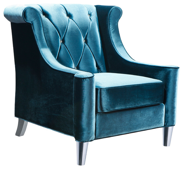 Gustav Velvet Armchair, Blue Transitional Armchairs And Accent Chairs