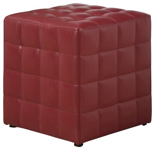 Tremendous Leather Look Fabric Ottoman Red Evergreenethics Interior Chair Design Evergreenethicsorg