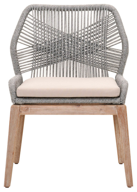 Orient Express Wicker Loom Dining Chair in Platinum, Set of 2