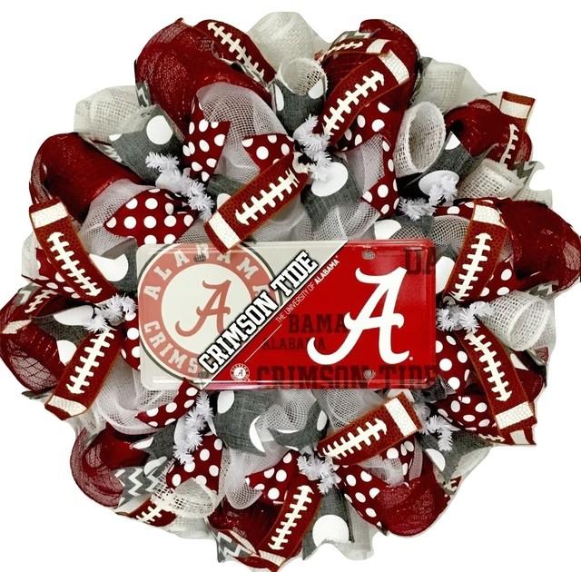 Alabama Crimson Tides Football Sports Wreath Handmade Deco Mesh.